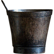 Antique French Tole Wine Maker's Bucket Scoop - Toleware Metal Pail