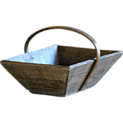 SOLD SMALL - Antique French Grape Harvest Trug - Wooden Garden Basket