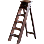 SOLD Antique English MINIATURE Step Ladder - 19th Century Salesman's Sample / Apprentice Ladde