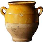 SOLD TINY Antique French Yellow-Glazed Confit Pot - 19th Century Earthenware Jar