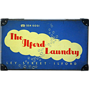 Vintage English LAUNDRY or LINEN Storage Box - Store Advertising