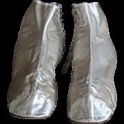 19th Century English Ladies' Silk Ankle Boots - Antique Satin Textile Shoes