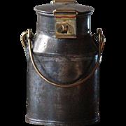 Antique SMALL English Brass & Tinned Steel Dairy MILK Cream CAN - Churn