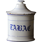 19th Century French Faience TABAC Jar - Antique Delft Pottery Tobacco POT