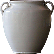 Antique French White-Glazed Earthenware CONFIT Pot