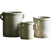 SOLD Antique Italian Glazed Confit Pots - 19th Century Terracotta Preserve Jars #3