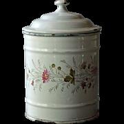Antique French Enamel Kitchen Canister - C.1900 Floral Enamelware / Graniteware