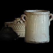 SOLD LARGE 19th Century Italian Glazed Terracotta CONFIT POT - Antique Preserve Jar