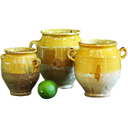 SALE SMALL 19th century French CONFIT Pots - Antique TINY Yellow Glazed Earthenware Jars