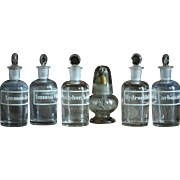 SALE PENDING 19th Century Chemistry Laboratory Glass Reagent Bottles - Antique Science Lab Gla