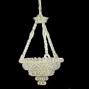 Antique French LARGE Hanging Wire Flower Basket / Planter- Wirework Garden Basket