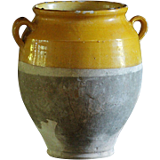 SOLD HUGE---19th Century French Confit Pot - Yellow-Glazed Earthenware Storage Jar