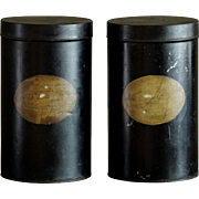 SOLD 19th Century Tole Painted Shop Display SEED Tins - Antique Toleware Garden Storage CANIST