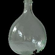 French Glass Demijohn - Antique Wine Flask Bottle