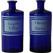 19th Century French Apothecary Glass Bottles - Antique Cobalt blue Chemists / Pharmacy Jars