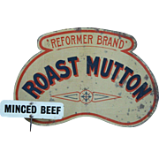SALE PENDING English Tin Lithographed Butcher's Roast Mutton Shop Sign