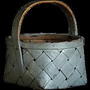 19th Century Antique Swedish Splint Woven Painted Basket