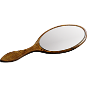 Antique English Hand Held Vanity Mirror - Victorian Late 19th Century