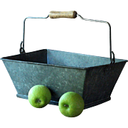 Antique French Workman's Tool Tote / Caddy - Galvanized Metal Garden Trug / Basket