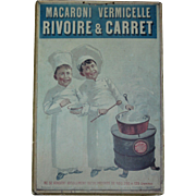 1920 Vintage French Rivoire & Carret Macaroni Vermicelle Pasta Board Poster - Store Advertisin