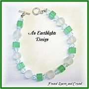 """Sea Glass"" Frosted Quartz/Crystal Bracelet"