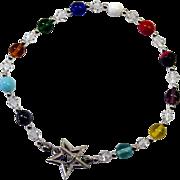 Colorful Czech Glass/Sterling Silver Bracelet