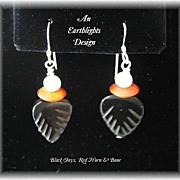Black Onyx/Red Horn/White Bone Earrings - Africa Collection