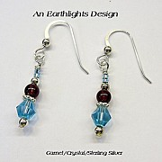 Garnet and Swarovski Crystal Dangle Earrings