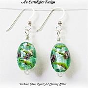 Beautiful Green Dichroic Glass/Clear Quartz Earrings
