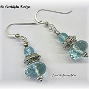 Beautiful Aqua Crystal/Silver Dangle Earrings
