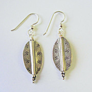 Lovely Silver Art Metal Dangle Earrings
