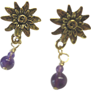 Dark Amethyst Dangle Earrings