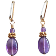 Oval Amethyst/Vermeil Earrings