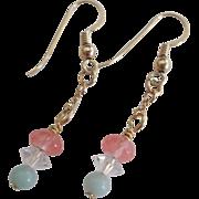 Lovely Pastel Earrings in Amazonite/Crystal