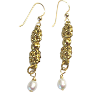 LONG, Ornate Freshwater Pearl Earrings