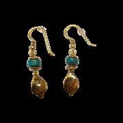 Turquoise Earrings w/Dangling Leaf