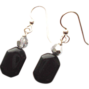 Black Onyx/Crystal Earrings