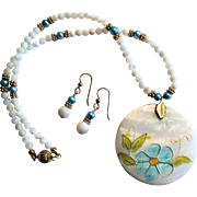 Pretty MOP, Shell and Freshwater Pearl Necklace/Earring Set