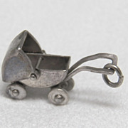 Baby Buggy Charm Vintage Sterling Silver Movable
