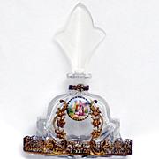 Perfume Bottle Czech IRice w/Filigree and Painted Medallion