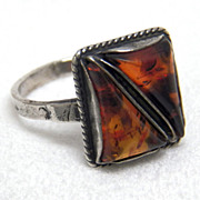 Baltic Amber Ring Vintage Sterling Silver