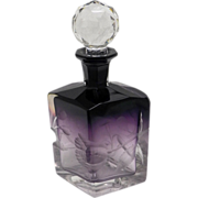 Perfume Bottle Moser Intaglio Cut Antique Amethyst