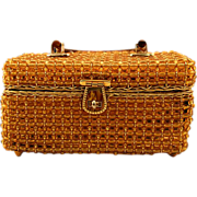 SOLD Boxy Delill Handbag with Amber-Colored Beaded Embellishments