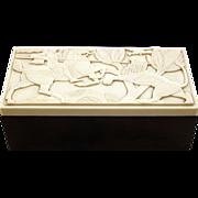 Rare Historical Bakelite Elo Ware 1936 Cigarette Box with Grecian Soldier