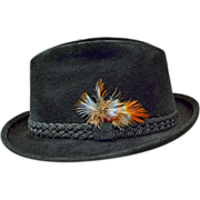 SOLD Vintage Stetson Black Beaver Velour Fedora with Feathered Accent in Orig Box