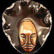 "1943 ELZAC ""Bonnet Head"" Copper Glazed Ceramic Lucite Brooch Book Piece"
