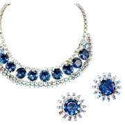 To the Ball! Blue Rhinestone Necklace and Earrings Demi-Parure