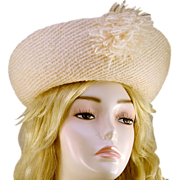 ca 1960s Dramatic Vincent Harmik White Wool Hat