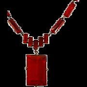 Luscious Red Very Vintage Czechoslovakian Glass Pendant Necklace