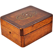 Rare, Exquisite Antique Louis Philippe Style Mahogany and Rosewood Veneer Dresser Box (c. 1830